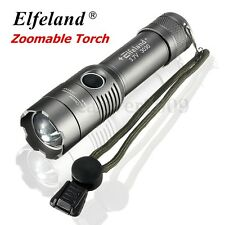 15000LM Elfeland T6 LED Zoomable Focus Flashlight Military Tactical Torch Light