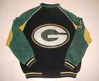 Green Bay Packers NFL NFC Vintage Black Gold Leather Full Zipper Jacket XL