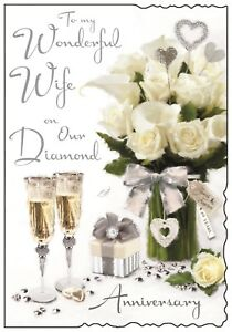 Wife 60th Diamond Wedding Anniversary Card Verse Luxury Card Made In UK JJ