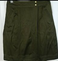 NWT LOFT Olive Pencil Skirt Women's Size 4P Wrap Pockets NEW $69.50 Petite Green