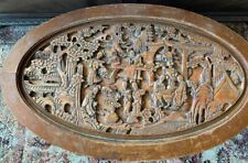 Chinese antique wood carved tea table with 6 stools