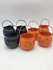 7 Hosley USA Halloween Jack-o-Lantern Pumpkin Metal Tealight Votive Lanterns