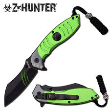 """Green Z-HUNTER SPRING ASSISTED KNIFE 4.5"""" CLOSED Wharncliffe Spay Point Blade"""