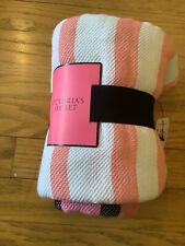 Victorias Secret Pink Striped Throw Blanket One size, New with tags