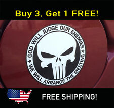 Punisher Skull Decal Bumper Sticker God Will Judge Our Enemies SWAT OPS Military