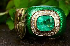 4.30 Cts Natural Fire Green Emerald Cushion Cut and Diamond Enamel Ring 14K Gold