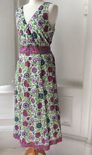 Anokhi For East Gorgeous Summer Midi Dress Block Print Sz 12 Fab Colours Magenta