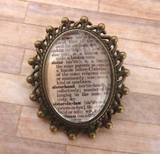 "Brooch New in Gift Bag Vintage Bronze Dictionary Definition ""Sister"""