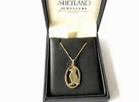 VINTAGE 1988 Scottish Shetland 9ct Gold PUFFIN Pendant Chain Necklace BOXED