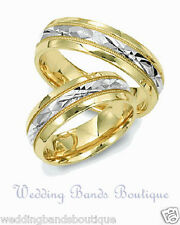 14K TWO TONE WHITE YELLOW GOLD HIS HERS MATCHING WEDDING BAND SET MEN WOMEN RING