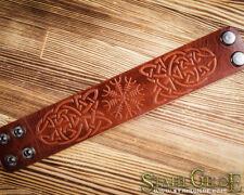 Leather Bracelet Cuff Wristband Celtic Knotwork Aegishjalmur Helm of Awe Runes