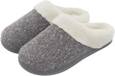 Women's Cozy Memory Foam Knit Slippers, Ladies' Slip on Mules House Size 7-8