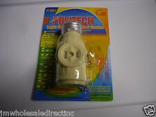 Standard Light bulb Socket with Dual receptacle ON/OFF Pull Chain Switch Ivery