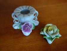 Dresden Porzellan 1 Kerzenhalter Rose  und 1 Rose Goldrand - alt