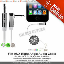 Belkin AV10128cw03-WHT Audio Right Angle Flat cable 3.5mm to 3.5mm jack socket