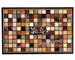 30 x 48 Inches Marble Coffee Table Top Geometric Pattern Inlaid Island table