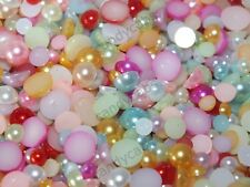 10g Mixed Faux Half Flat Back Tropical Pearls 4,5,6,7mm 200pcs Craft Decoden Kit