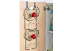 SET 2 OVER THE DOOR PAN LID STORAGE * CUPBOARD 6 POT RACK STORE ORGANISER MOUNT