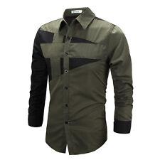 Mens Luxury Dress Shirt Top Designer Long Sleeve Casual Slim Fit T-Shirt Tee Top