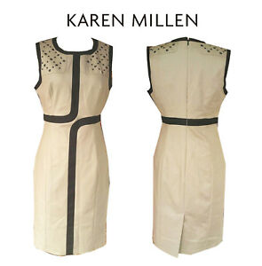 BNWT Karen Millen Taupe & Black dress - Size 8