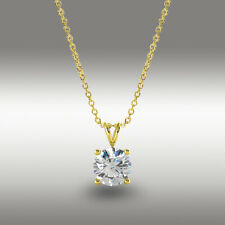"""1 Ct Round Brilliant Cut Solitaire Pendant 16""""+2"""" Solid 14k Yellow Gold Necklace"""