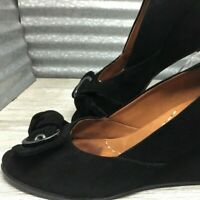 Kenneth Cole Leather Women's Gentle Souls Suede Black Wedge Peep Toe Size 10M
