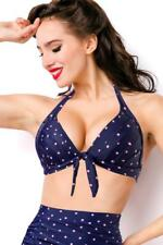 ATX 15222 Retro 50er Bikini Top Oberteil Bademode Badeanzug  blau 36 38 40 42 44