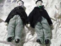 """2 Vintage LAUREL AND HARDY 9"""" Porcelain Figures DOLLS Ceramic Figurines    a3"""