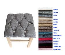 Chesterfield Dressing Table Stool Crushed Velvet Diamond Upholstered 15 Colours