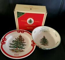 Spode Christmas Tree Annual 1997 Red Plate & 2007 Green Bowl England Ltd Edition