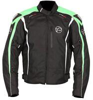 Buffalo Spyker Black Green Textile Waterproof Motorcycle Jacket New