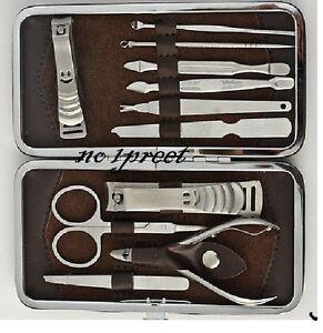 Men Women 11 Pcs Manicure Set Finger Toe Nail Clipper Grooming Pedicure Kit Set