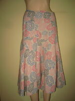 White Stuff ~ Natural Stone Pink & Blue Swirly Print Swirly Linen Skirt  Size 12