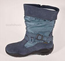 Ecco Girls Winter Queen Gore-Tex Blue Suede Combi Zip Boots UK 1 EU 33