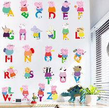 Peppa Pig Alphabets Kids Wall Stickers Nursery Decor Cartoon Vinyl Decal Gift