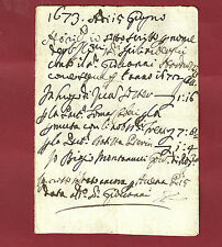 Spilimbergo Antico Manoscritto Seicentesco - Ricevuta di Censo 1673
