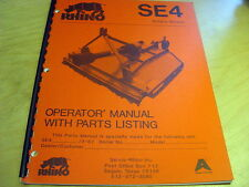 Servis Rhino SE4 Rotary Mower Cutter Operator's Parts Manual List Catalog Book