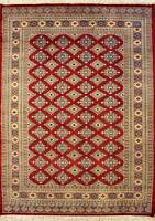 Rugstc 4x6 Bokhara Jaldar Red Area Rug, Hand-Knotted,Geometric with Silk/Wool