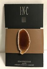 INC  Gold Tone Brown Band Agate Double Snap Cuff Bracelet ret $49