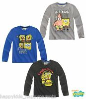 Boys SPONGE BOB Long Sleeve CHARACTER TOP T- Shirt 3 4 5 6 7 8 9 10 11 12 Years