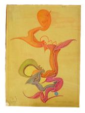 50er Jahr Zeichnung Fritz Klee original Pastell von 1952 31cm 22,5cm Mid Century