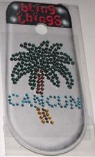 Cancun Mexico Palm Tree Crystal Cell Phone BLING THING iPhone Sticker iPod Decal