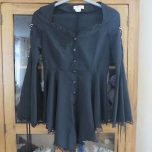 Chicstar, Mary Hildebrandt Black Goth Tunic 34 Bust Immaculate.