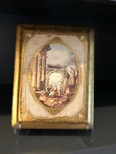 "Vintage Italian Floritine Wood Plaque Classic Scene 8"" X 6 1/2"" Vtg"
