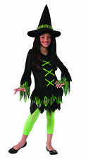 Girls Lime Witch Costume Green & Black Witch Dress & Hat Kids Size Medium