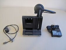 Plantronics Savi W745, with deluxe charging cradle, and associated cables