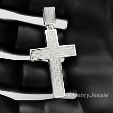 MEN 925 STERLING SILVER LAB DIAMOND ICED OUT BLING CROSS CHARM PENDANT*SP1