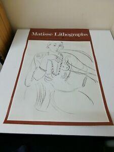 RARE Vintage Original Poster Bethnal Green Museum 1973 Matisse Lithographs 29x19