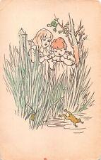 R287938 Children. Frog. Drawing. Postcard