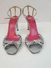 Women's Kate Spade New York Italy Lolita Silver Metallic Sandal Heels Size 7 B